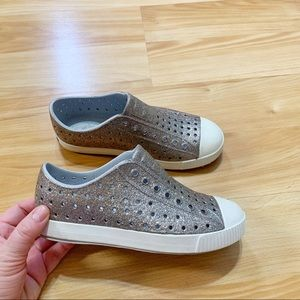 Girls Silver Glitter Native Shoes size 2 GUC